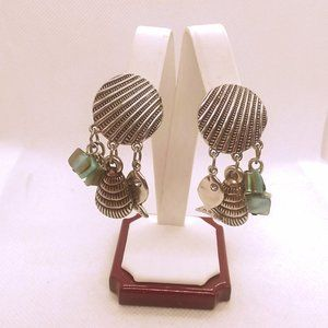 Jewelry - Beachy Seashell Fish Dangle Charm Clip Earrings